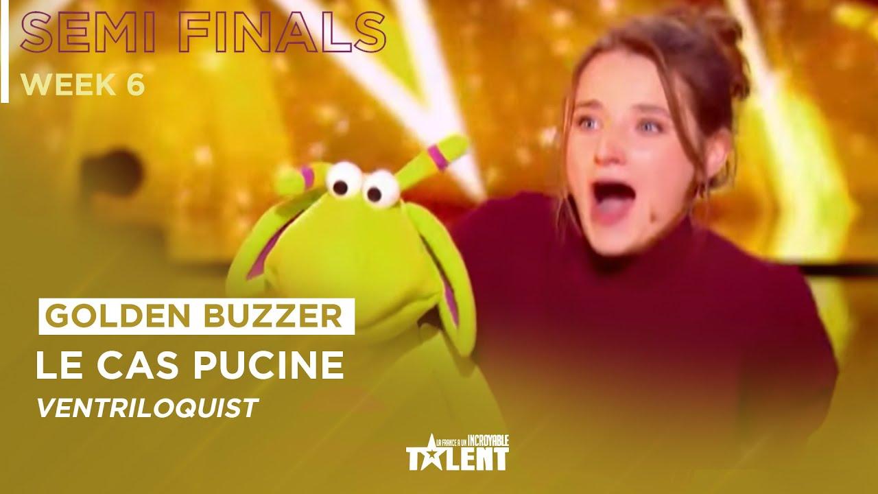 GOLDEN BUZZER ! 21-Year-Old Capucine Singing Ventriloquist Gets ...