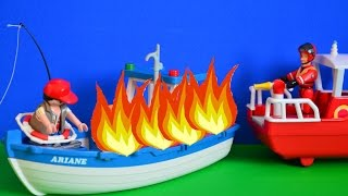 Fireman Sam Rescue Boat Fire At Sea Play Doh Pontypandy Full story