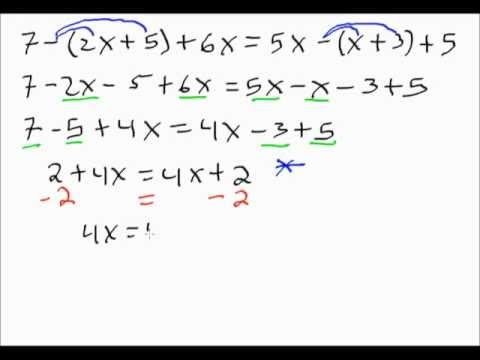 Solving Linear Equations No Solution Versus All Real Numbers Youtube