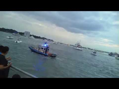 Rare Catch Of NYPD Harbor Patrol Using Sirens While Alerting Boaters To Stay Away From Shore