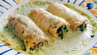 Canelones de crepes rellenos de espinacas y requesón – Recetas Mallorquinas