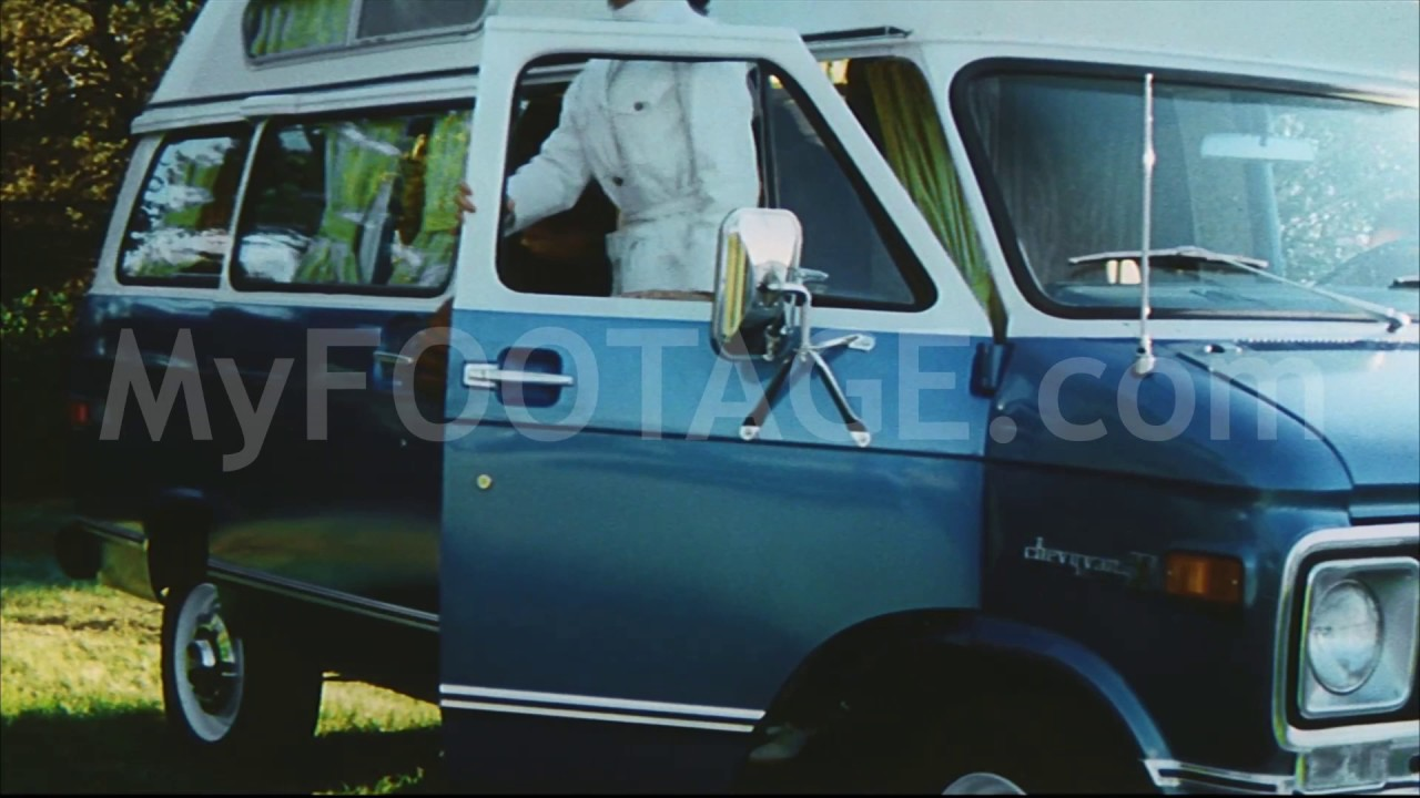 3b006f979a 1971 CHEVROLET CHEYENNE WITH CAMPER CONVERSION VAN Stock Footage HD ...