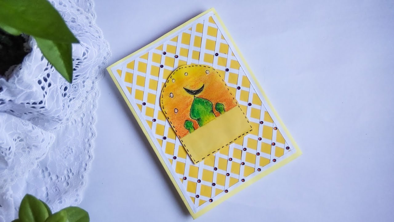 how to make beautiful eid card  eid card design easy