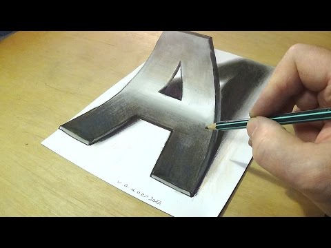 Trick Art Drawing - How to Draw 3D Letter A - Anamorphic Illusion