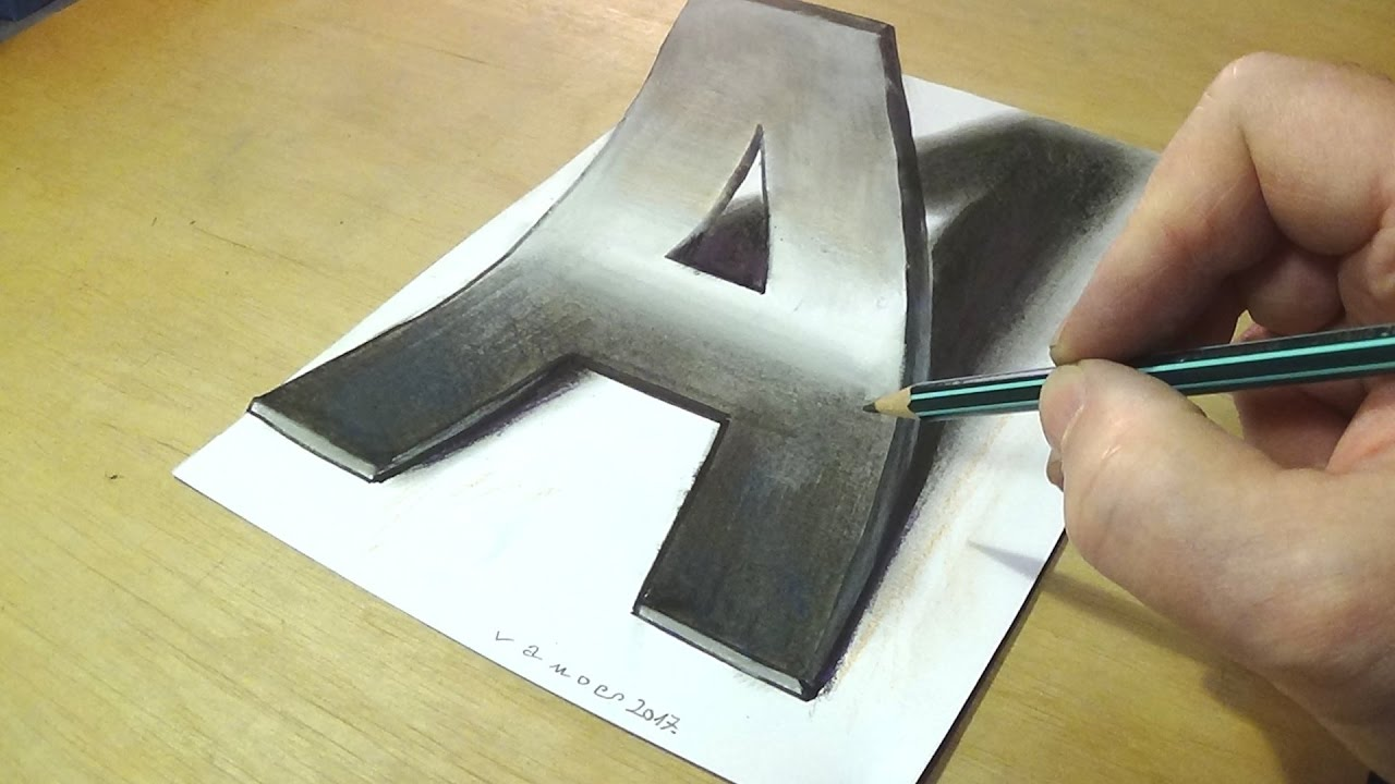 How to Draw 3D Letter A - Drawing Letter A with Pencil