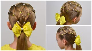 HOW TO: Spider Web or Net - Elastic Hairstyle ❀ Everyday hairstyle for girls #58