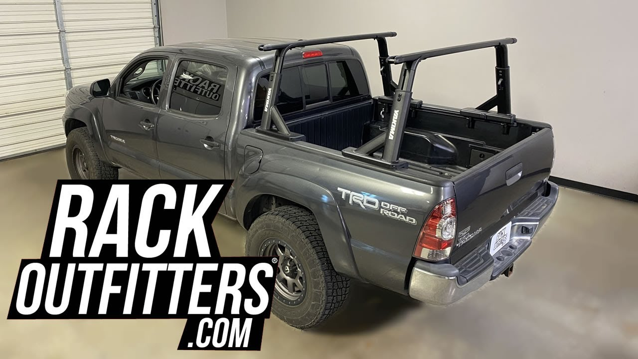 toyota tacoma with yakima overhaul hd height adjustable off road capable truck bed rack