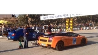 Lamborghini Gallardo vs Subaru Impreza WRX Drag Race