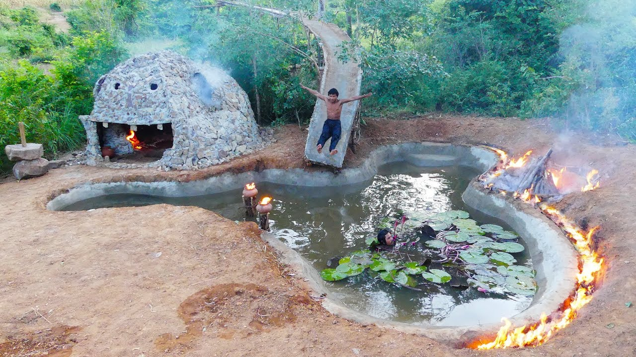 Build amazing underground fire swimming pool and water slide around fire​ ​for the winter