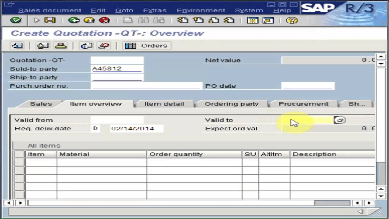 How to Create a SAP Sales Quotation YouTube – Sales Quotation