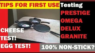 TESTING PRESTIGE OMEGA DELUXE GRANITE FIRST USE TIPS for NON STICK GRANITE Cookware HOW TO USE