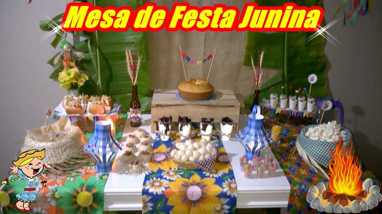 DICAS para DECORAR A MESA de FESTA JUNINA YouTube -> Decoração De Mesa De Aniversario Para Homens