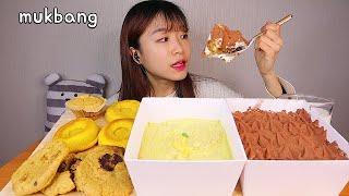 MUKBANG 티라미수와 바나나푸딩 케이크 비건 디저트 먹방 TIRAMISU PUDDING CAKE Dessert asmr