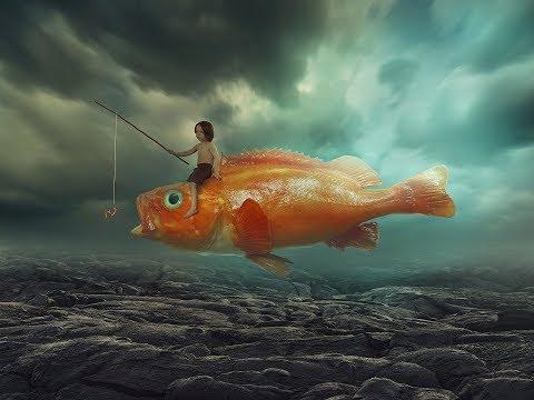Photoshop Tutorial Surreal Photo manipulation Boy on a flying big fish