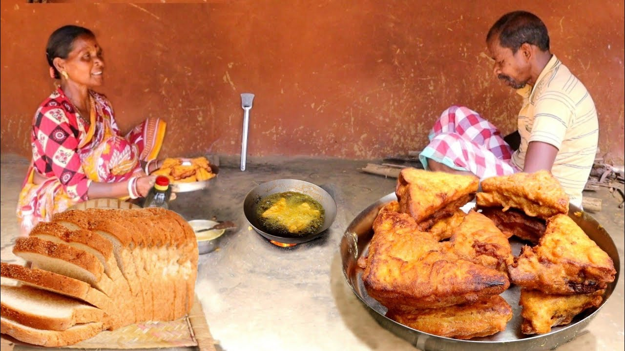 BREAD PAKORA recipe cooking by santali tribe women like Indian street food    rural India orissa