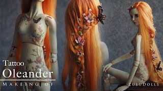 Zuludolls - OOAK Tattoo dolls - oleander with Manu making of