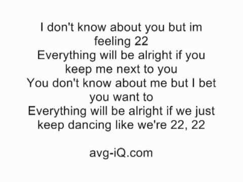 22 by Taylor Swift acoustic guitar instrumental cover with lyrics karaoke