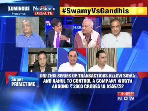 The Newshour  Debate: Subramanian Swamy Vs Gandhis - Part 1 (26th June 2014)