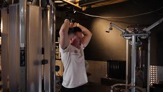 Low Cable Standing Overhead Tricep Rope Extension