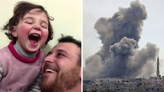 video: Father teaches young daughter to laugh at bombs to help cope with Syrian war