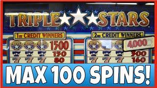 100 SPINS ON TRIPLE STARS SLOT MACHINE! MAX BET!!!