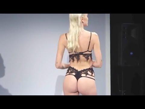 Показ женского нижнего белья бикини красивое черное белье кружевное