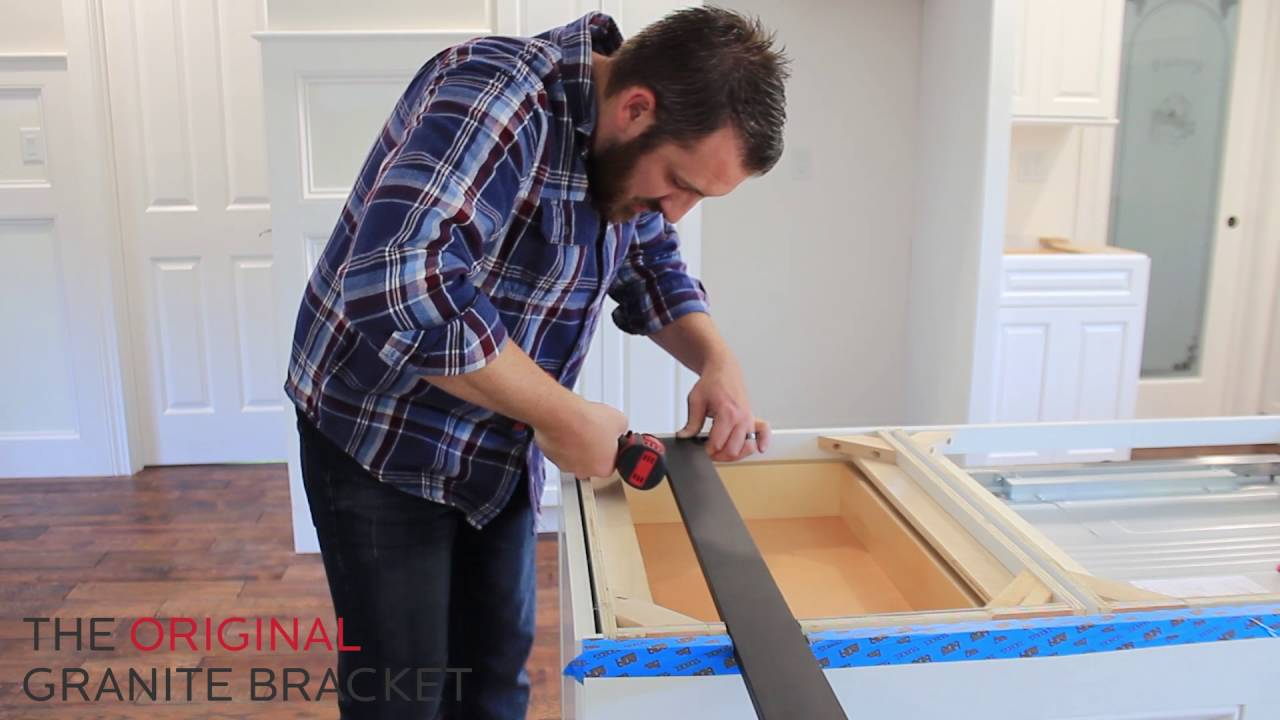 how to install hidden countertop support bracket for kitchen island