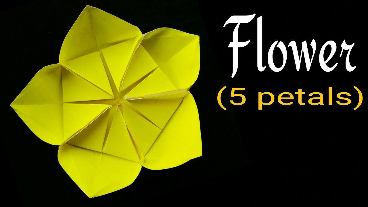 Beautiful origami paper flower with five petals youtube mightylinksfo