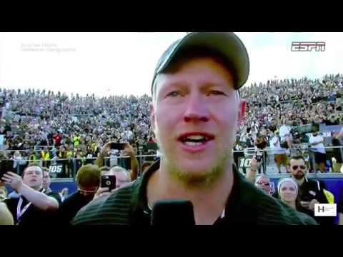 UCF Coach Scott Frost gets emotional during interview of LAST regular season game with UCF