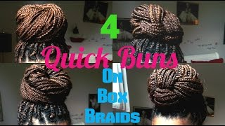4 elegant high bun hairstyles on box braids