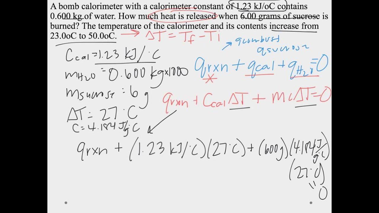 Coffee cup calorimeter problems - Bomb Calorimetry Hw Example