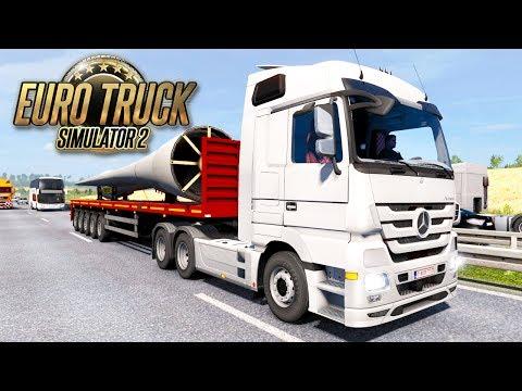Euro Truck Simulator 2 #5 - HEAVY CARGO WIND TURBINE BLADES: Brussel to Denmark