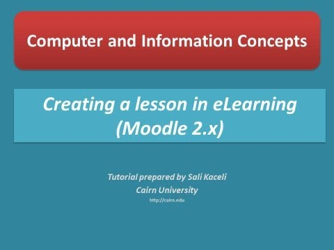 Creating a Lesson in Moodle