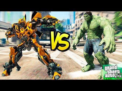 GTA 5 Моды: Трансформер бамблби против ХАЛКА(HULK) в GTA 5 - Битва супергероев