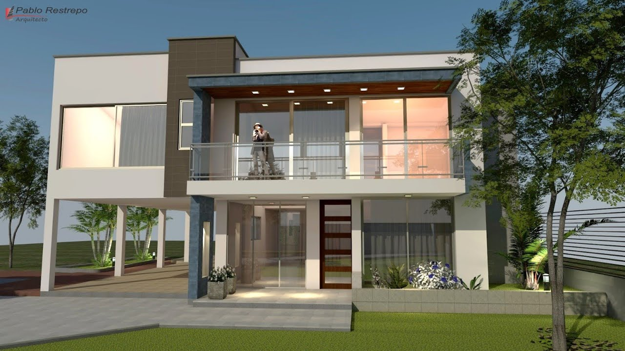 Planos de casa moderna dise o en dos pisos rea 292 m2 for Construcciones minimalistas