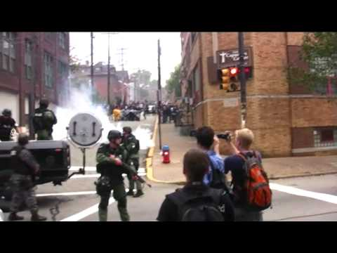 Anarchists & Police clash at G20 Pittsburgh LRAD