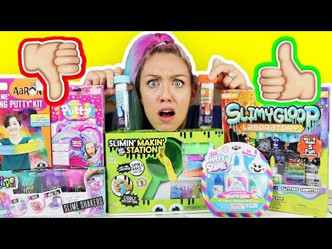 testing-slime-and-putty-kits!-(-fluffly-slime,-unicorn-putty,-thinking-putty,-slime-station)