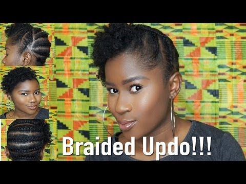 Braided Updo Style On Short Type 4 Natural Hair Mona B Youtube