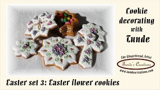 Easter Cookies With Purple Flowers