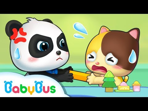 Both Baby Panda and Baby Kitten Want the Toy   Sharing Song   Kids Good Habits   BabyBus Song