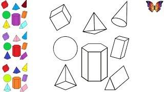 Как нарисовать и раскрасить геометрические фигуры / Учим цвета на английском.