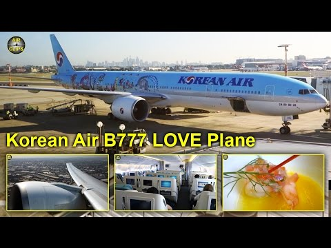 Korean Air Boeing 777-300ER LOVE Plane Business Class Sydney to Seoul [AirClips full flight series]