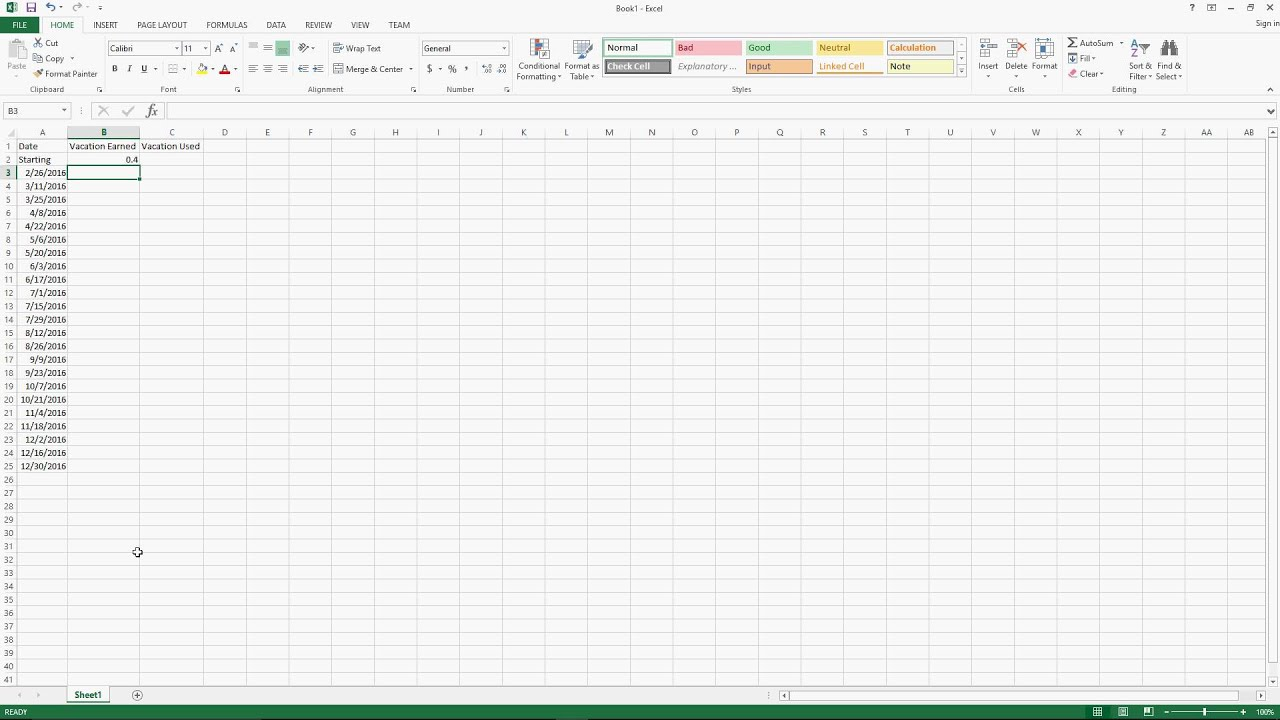 vacation accrual workbook in excel youtube