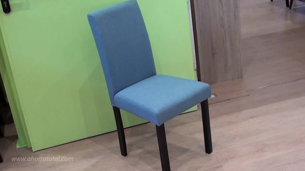 Silla comedor tapizado en color azul 8284 youtube for Sillas azules comedor