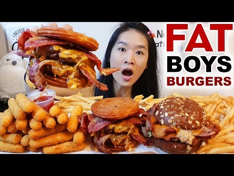 FAT BOY'S CHURROS BURGER! Monster Mash Fried Chicken Burger, Cheese Sticks | Mukbang w Eating Sounds