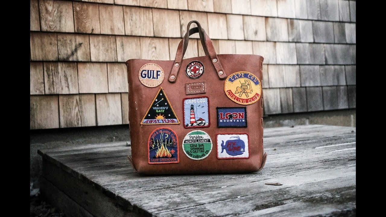 Sewing Patches on a Leather Bag