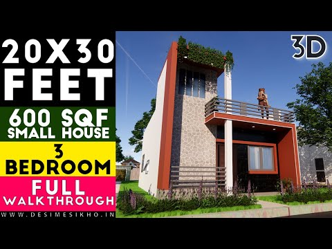 20x30 Feet One Story House || Small Space House With 3 Bedroom Plan-8