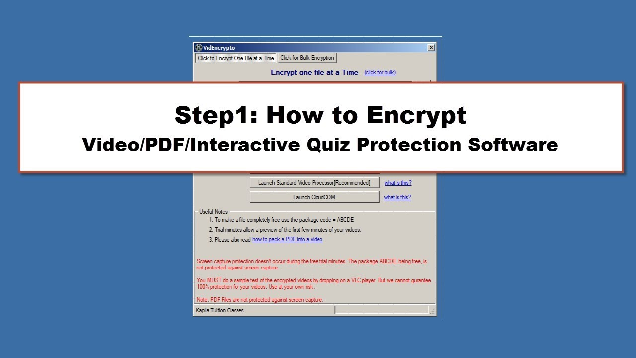 Step 1 of 3: How to Encrypt | Video/PDF/Quiz Protection Software | DRM  Protection