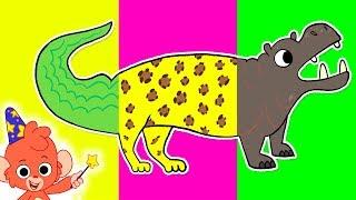 Wrong Heads Animal Cartoon | Mix and Match Zoo Animals | Jaguar, Hippopotamus, Alligator, Quail