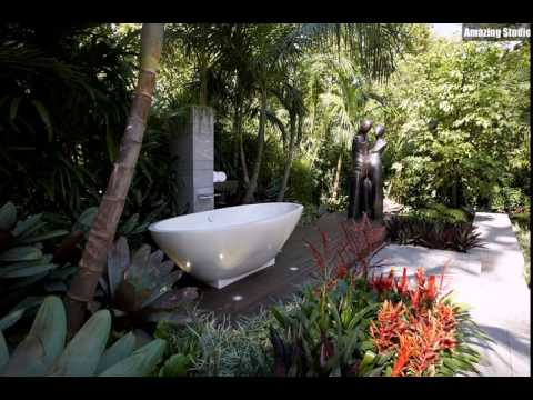 outdoor badezimmer mit dusche und badewanne youtube. Black Bedroom Furniture Sets. Home Design Ideas